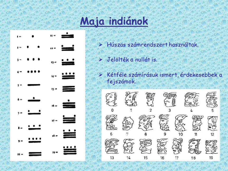 Maja indiánok  Húszas számrendszert használtak.  Jelölték a nullát is.  Kétféle számírásuk ismert, érdekesebbek a fejszámok.