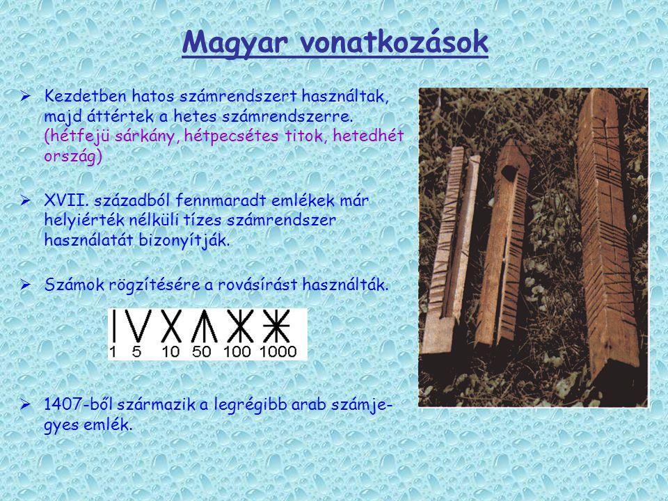 Magyar vonatkozások  Kezdetben hatos számrendszert használtak, majd áttértek a hetes számrendszerre. (hétfejü sárkány, hétpecsétes titok, hetedhét or