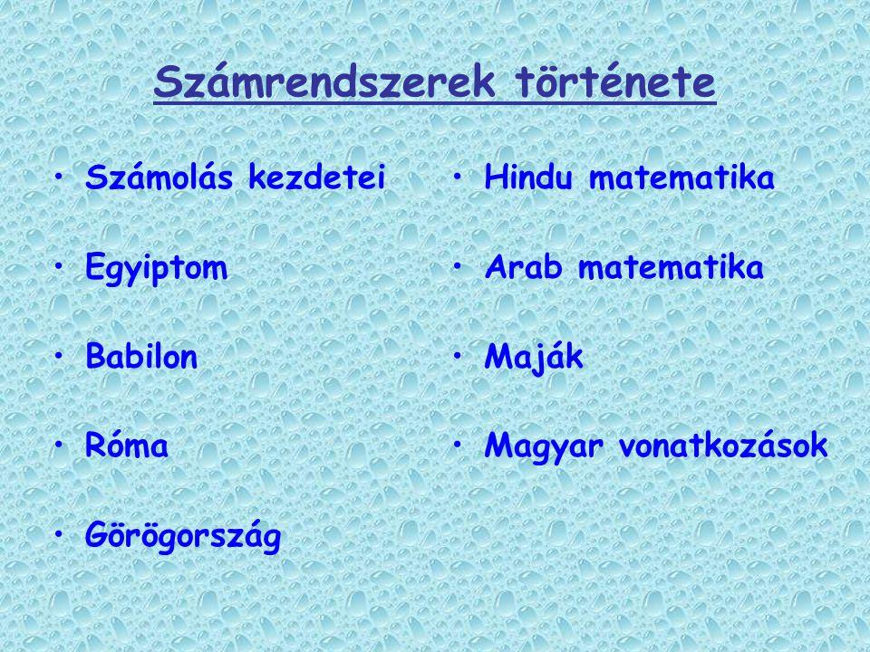 Számrendszerek története Számolás kezdetei Egyiptom Babilon Róma Görögország Hindu matematika Arab matematika Maják Magyar vonatkozások