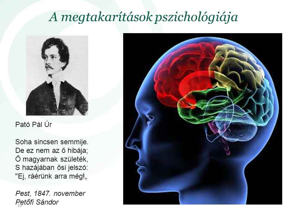 A megtakarítások pszichológiája Pató Pál Úr Soha sincsen semmije. De ez nem az ő hibája; Ő magyarnak születék, S hazájában ősi jelszó: