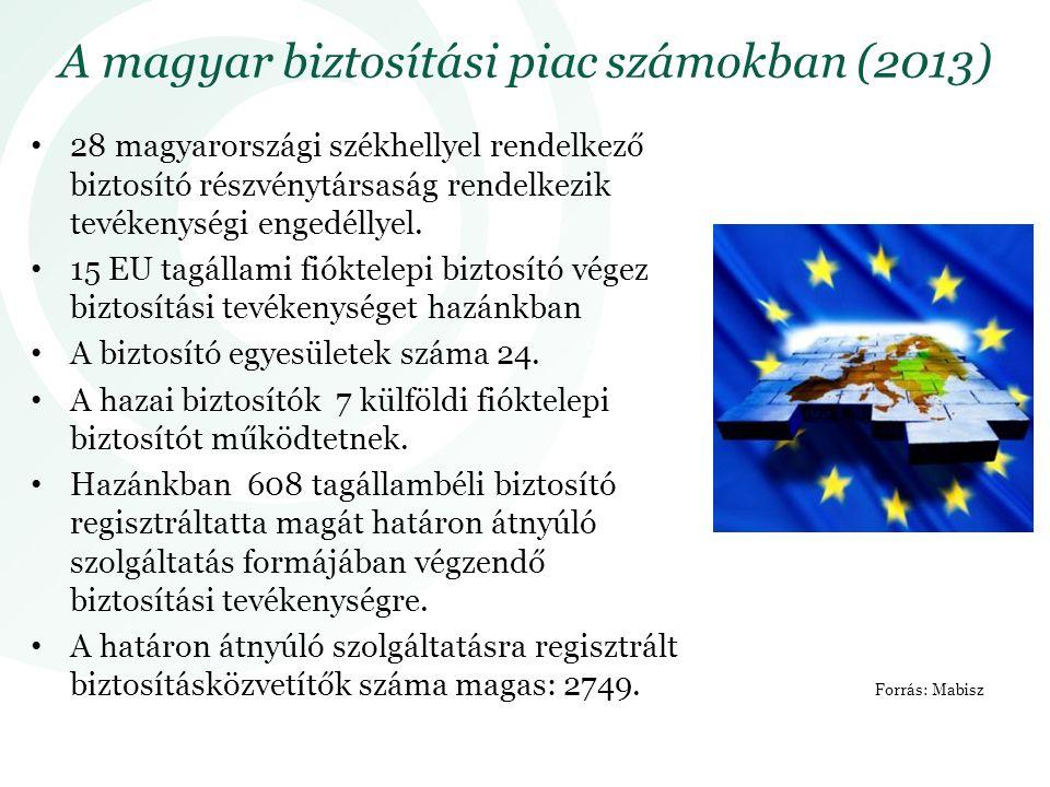 28 magyarországi székhellyel rendelkező biztosító részvénytársaság rendelkezik tevékenységi engedéllyel. 15 EU tagállami fióktelepi biztosító végez bi