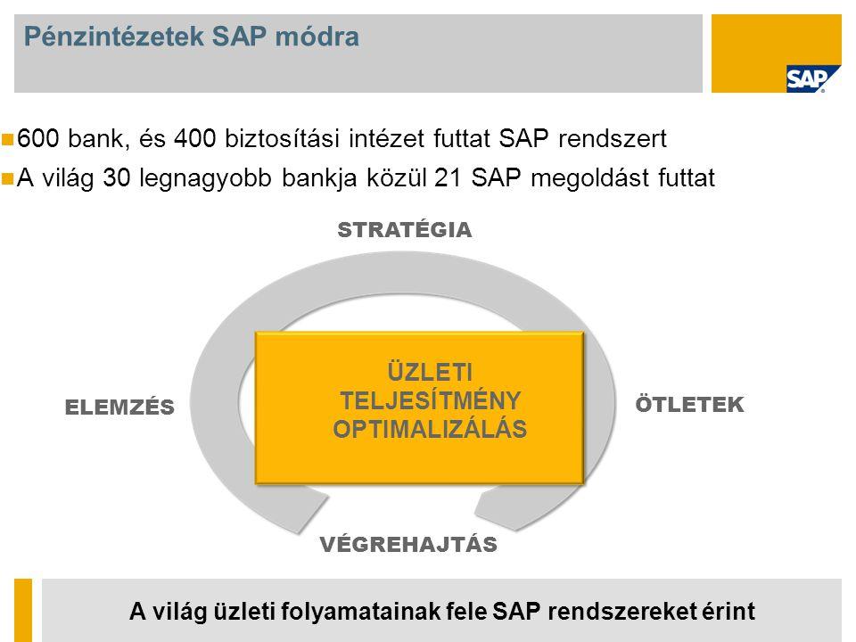Pénzintézetek SAP módra 600 bank, és 400 biztosítási intézet futtat SAP rendszert A világ 30 legnagyobb bankja közül 21 SAP megoldást futtat A világ üzleti folyamatainak fele SAP rendszereket érint ELEMZÉS VÉGREHAJTÁS STRATÉGIA ÜZLETI TELJESÍTMÉNY OPTIMALIZÁLÁS ÖTLETEK