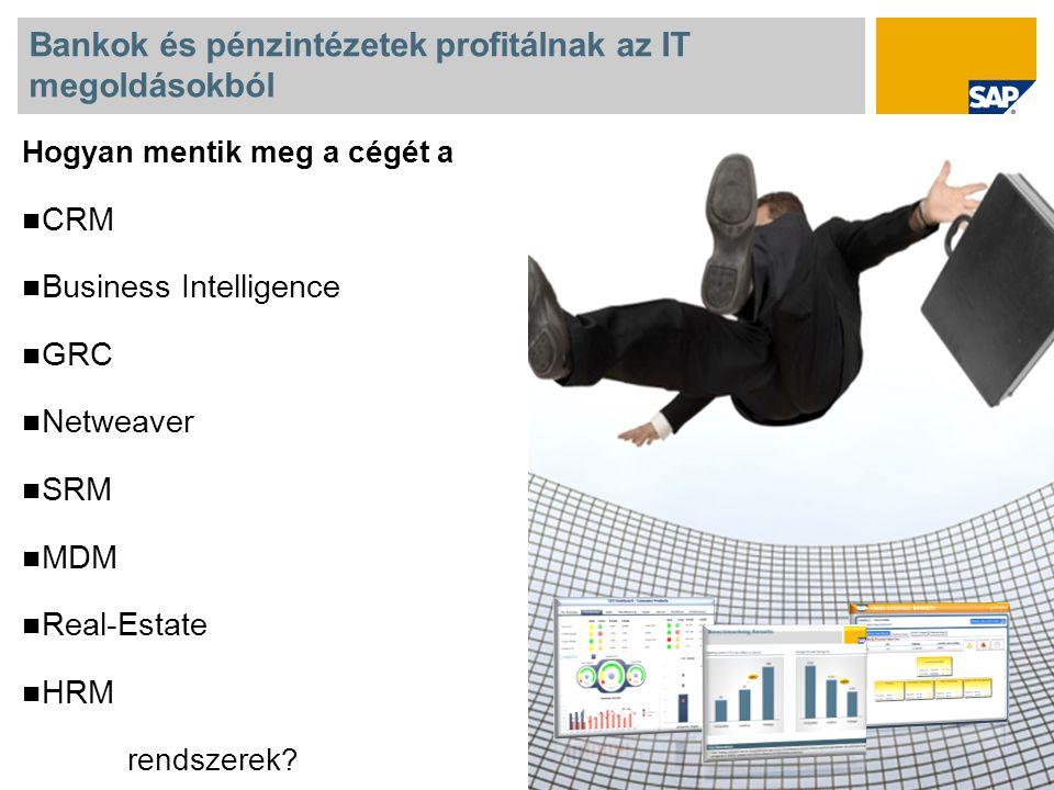 Bankok és pénzintézetek profitálnak az IT megoldásokból Hogyan mentik meg a cégét a CRM Business Intelligence GRC Netweaver SRM MDM Real-Estate HRM rendszerek