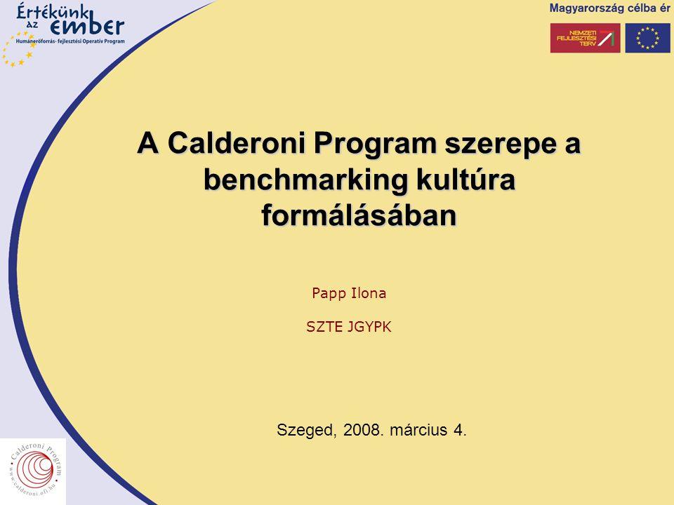 A Calderoni Program szerepe a benchmarking kultúra formálásában Papp Ilona SZTE JGYPK Szeged, 2008.