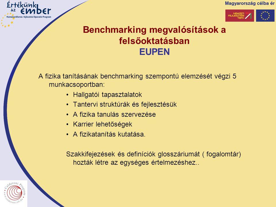 Benchmarking megvalósítások a felsőoktatásban EUPEN A fizika tanításának benchmarking szempontú elemzését végzi 5 munkacsoportban: Hallgatói tapasztalatok Tantervi struktúrák és fejlesztésük A fizika tanulás szervezése Karrier lehetőségek A fizikatanítás kutatása.
