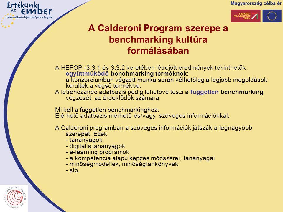 A Calderoni Program szerepe a benchmarking kultúra formálásában A HEFOP -3.3.1 és 3.3.2 keretében létrejött eredmények tekinthetők együttműködő benchm