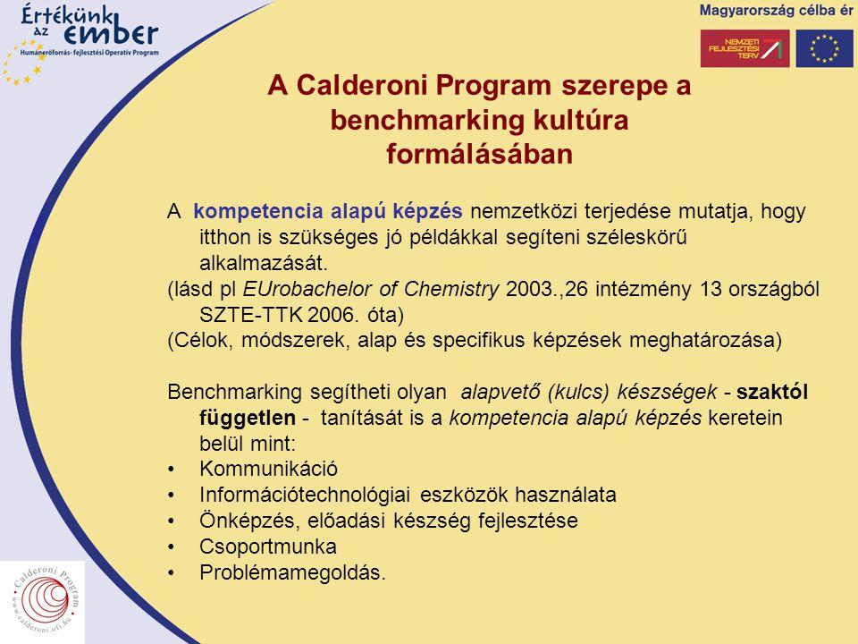 A Calderoni Program szerepe a benchmarking kultúra formálásában A kompetencia alapú képzés nemzetközi terjedése mutatja, hogy itthon is szükséges jó példákkal segíteni széleskörű alkalmazását.