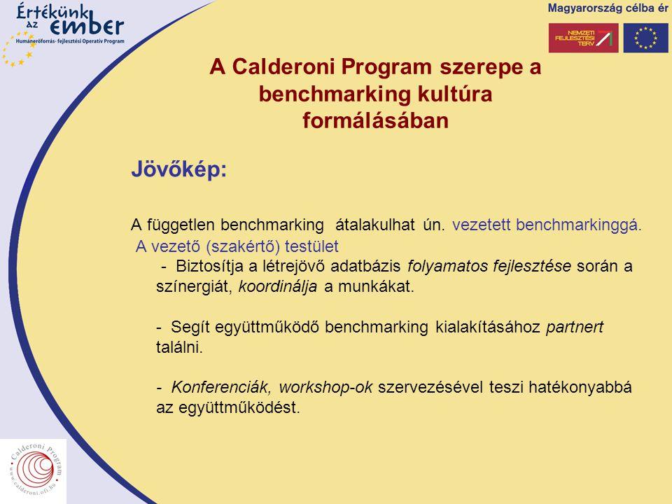 A Calderoni Program szerepe a benchmarking kultúra formálásában Jövőkép: A független benchmarking átalakulhat ún. vezetett benchmarkinggá. A vezető (s
