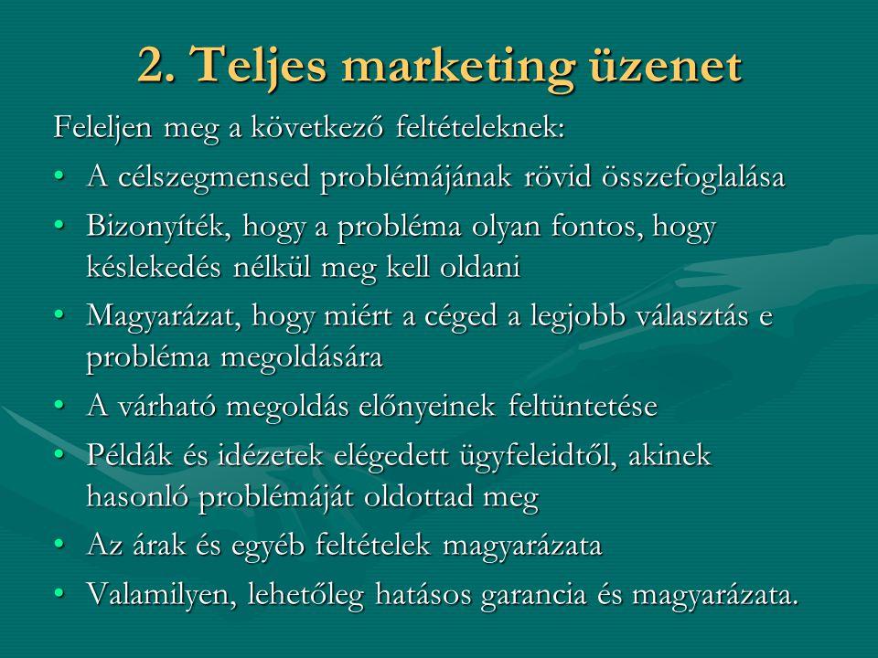 2. Teljes marketing üzenet Feleljen meg a következő feltételeknek: A célszegmensed problémájának rövid összefoglalásaA célszegmensed problémájának röv