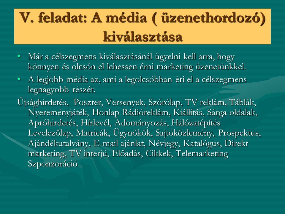 V. feladat: A média ( üzenethordozó) kiválasztása Már a célszegmens kiválasztásánál ügyelni kell arra, hogy könnyen és olcsón el lehessen érni marketi