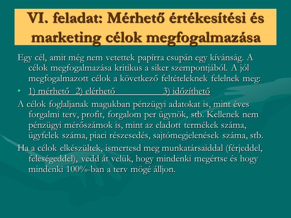 VI. feladat: Mérhető értékesítési és marketing célok megfogalmazása Egy cél, amit még nem vetettek papírra csupán egy kívánság. A célok megfogalmazása