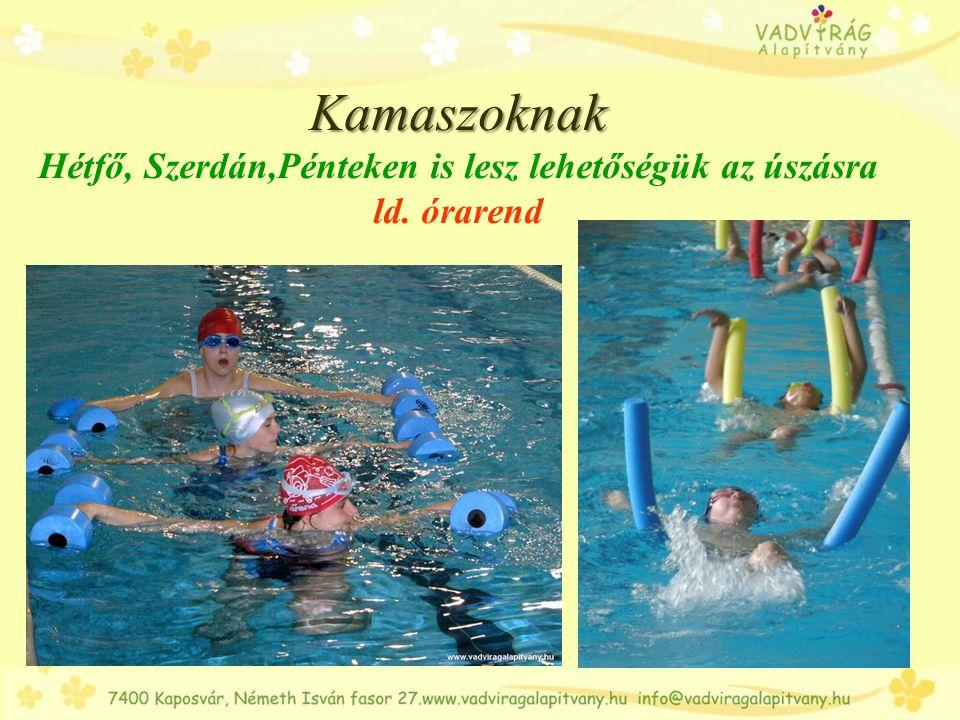 Úszás órarend NapHétfő SzerdaPéntek HelyszínKlebelsberg Kollégium Duráczky MKKlebelsberg Kollégium Duráczky MK 16.00Sportpalánta kezdő kisiskolásoknak 1.
