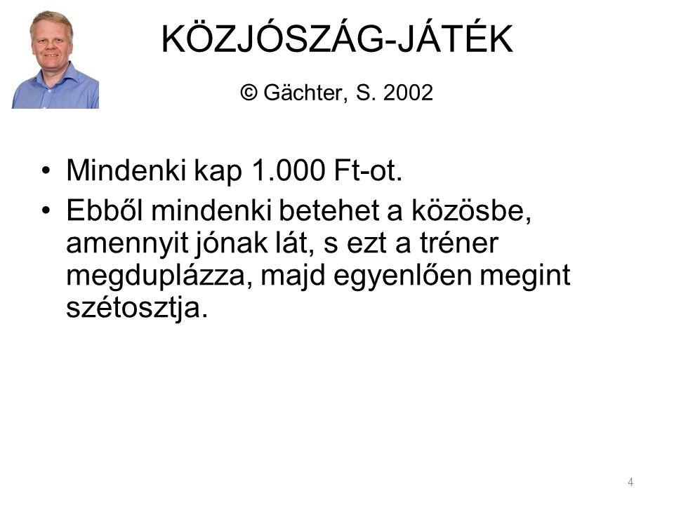 KÖZJÓSZÁG-JÁTÉK © Gächter, S. 2002 Mindenki kap 1.000 Ft-ot.
