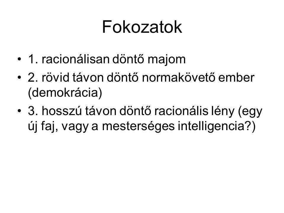 Fokozatok 1. racionálisan döntő majom 2. rövid távon döntő normakövető ember (demokrácia) 3.