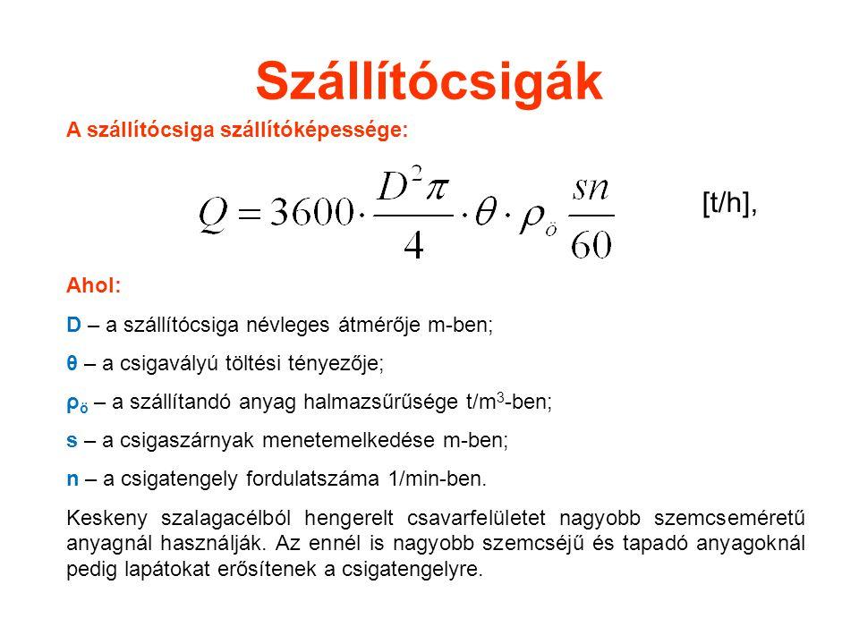 Szállítócsigák A szállítócsiga szállítóképessége: [t/h], Ahol: D – a szállítócsiga névleges átmérője m-ben; θ – a csigavályú töltési tényezője; ρ ö – a szállítandó anyag halmazsűrűsége t/m 3 -ben; s – a csigaszárnyak menetemelkedése m-ben; n – a csigatengely fordulatszáma 1/min-ben.