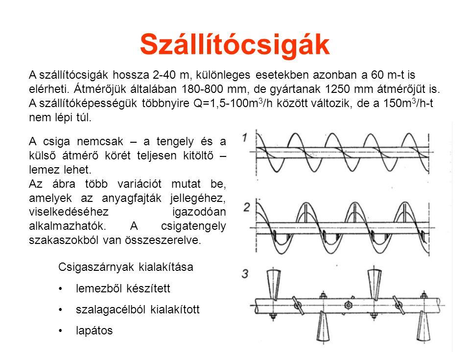 Szállítócsigák A szállítócsigák hossza 2-40 m, különleges esetekben azonban a 60 m-t is elérheti. Átmérőjük általában 180-800 mm, de gyártanak 1250 mm