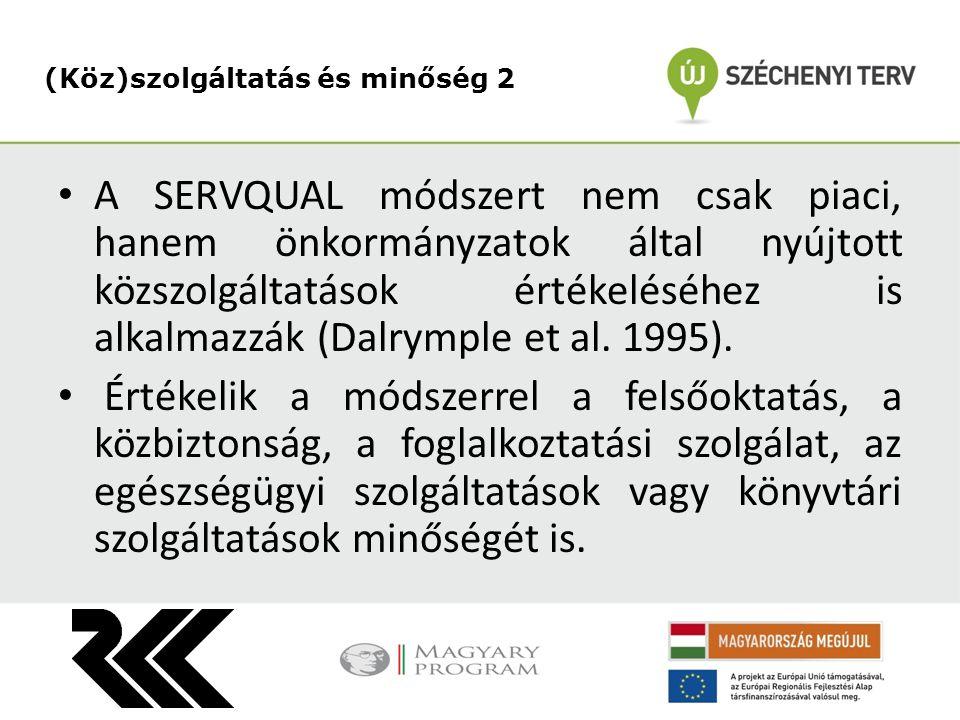 A SERVQUAL módszert nem csak piaci, hanem önkormányzatok által nyújtott közszolgáltatások értékeléséhez is alkalmazzák (Dalrymple et al.