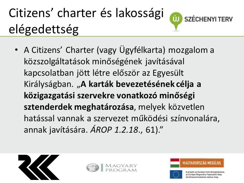 Citizens' charter és lakossági elégedettség A Citizens' Charter (vagy Ügyfélkarta) mozgalom a közszolgáltatások minőségének javításával kapcsolatban j