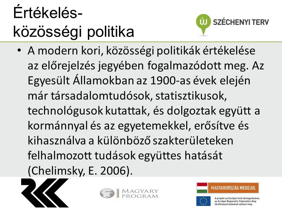 Értékelés- közösségi politika A modern kori, közösségi politikák értékelése az előrejelzés jegyében fogalmazódott meg.