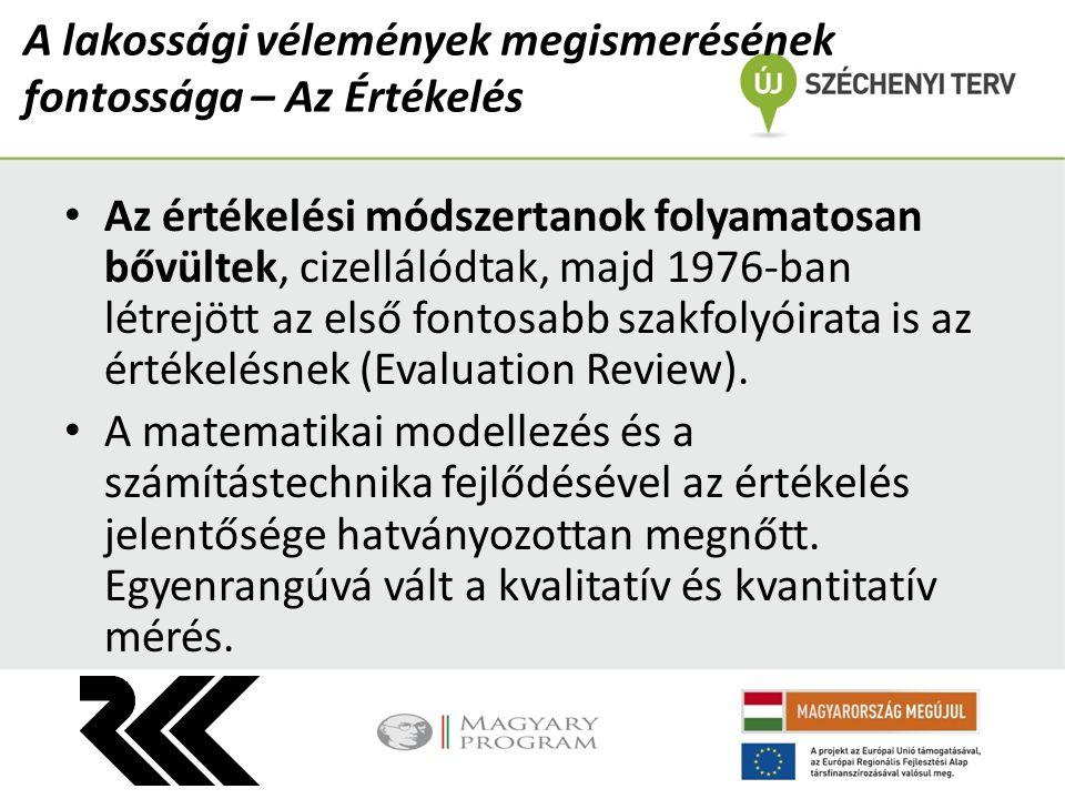 A lakossági vélemények megismerésének fontossága – Az Értékelés Az értékelési módszertanok folyamatosan bővültek, cizellálódtak, majd 1976-ban létrejött az első fontosabb szakfolyóirata is az értékelésnek (Evaluation Review).