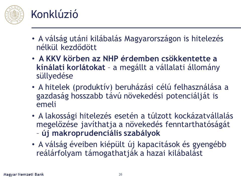 Konklúzió A válság utáni kilábalás Magyarországon is hitelezés nélkül kezdődött A KKV körben az NHP érdemben csökkentette a kínálati korlátokat – a megállt a vállalati állomány süllyedése A hitelek (produktív) beruházási célú felhasználása a gazdaság hosszabb távú növekedési potenciálját is emeli A lakossági hitelezés esetén a túlzott kockázatvállalás megelőzése javíthatja a növekedés fenntarthatóságát – új makroprudenciális szabályok A válság éveiben kiépült új kapacitások és gyengébb reálárfolyam támogathatják a hazai kilábalást Magyar Nemzeti Bank 26