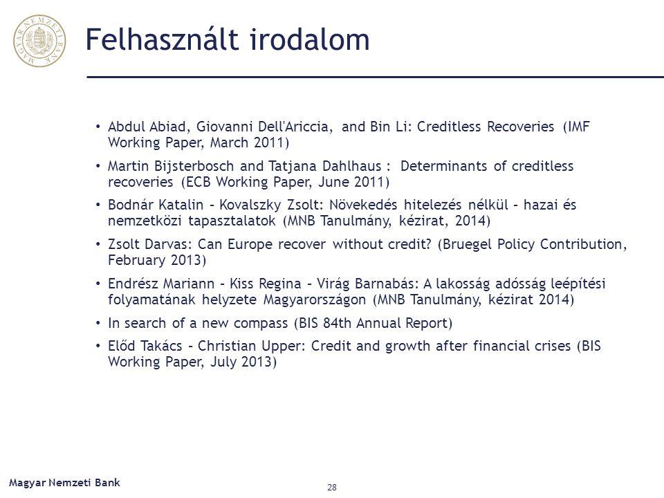 Felhasznált irodalom Abdul Abiad, Giovanni Dell'Ariccia, and Bin Li: Creditless Recoveries (IMF Working Paper, March 2011) Martin Bijsterbosch and Tat