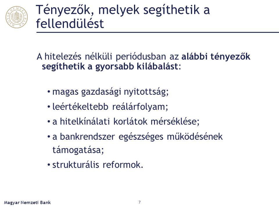 Tényezők, melyek segíthetik a fellendülést A hitelezés nélküli periódusban az alábbi tényezők segíthetik a gyorsabb kilábalást: magas gazdasági nyitottság; leértékeltebb reálárfolyam; a hitelkínálati korlátok mérséklése; a bankrendszer egészséges működésének támogatása; strukturális reformok.