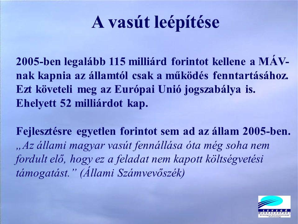A vasút leépítése 2005-ben legalább 115 milliárd forintot kellene a MÁV- nak kapnia az államtól csak a működés fenntartásához.