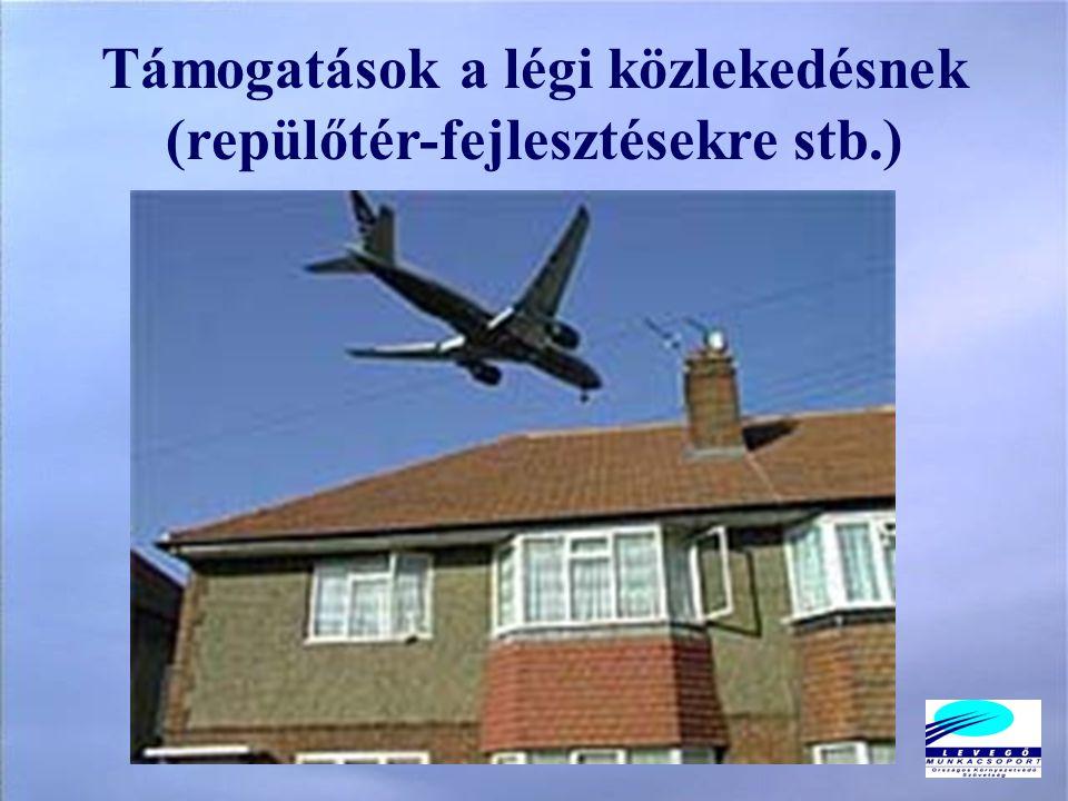 Támogatások a légi közlekedésnek (repülőtér-fejlesztésekre stb.)