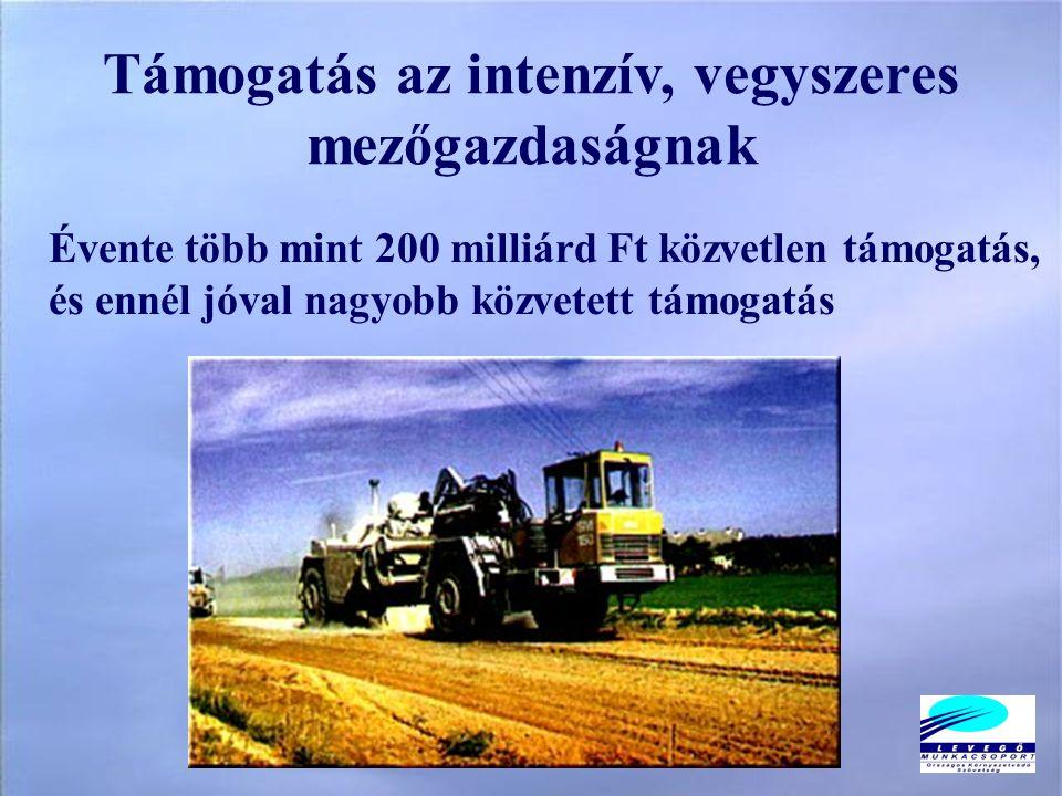 Évente több mint 200 milliárd Ft közvetlen támogatás, és ennél jóval nagyobb közvetett támogatás Támogatás az intenzív, vegyszeres mezőgazdaságnak