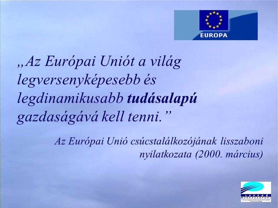 """""""Az Európai Uniót a világ legversenyképesebb és legdinamikusabb tudásalapú gazdaságává kell tenni. Az Európai Unió csúcstalálkozójának lisszaboni nyilatkozata (2000."""