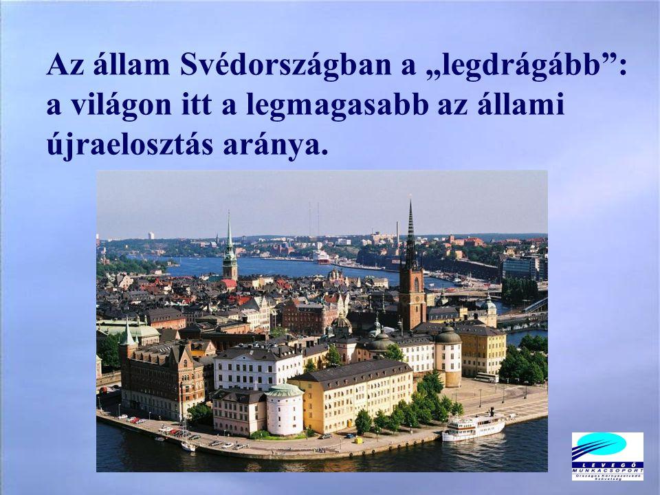 """Az állam Svédországban a """"legdrágább : a világon itt a legmagasabb az állami újraelosztás aránya."""