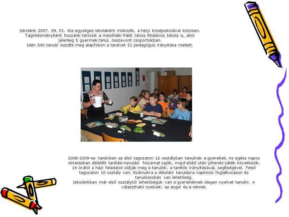 Iskolánk 2007. 09. 01. óta egységes iskolaként működik, a helyi középiskolával közösen. Tagintézményként hozzánk tartozik a mezőhéki Páldi János Által
