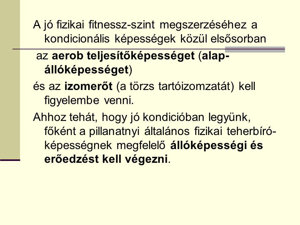 A jó fizikai fitnessz-szint megszerzéséhez a kondicionális képességek közül elsősorban az aerob teljesítőképességet (alap- állóképességet) és az izome