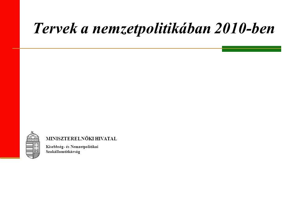 Tervek a nemzetpolitikában 2010-ben MINISZTERELNÖKI HIVATAL Kisebbség- és Nemzetpolitikai Szakállamtitkárság