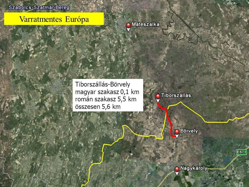 Tiborszállás-Börvely magyar szakasz 0,1 km román szakasz 5,5 km összesen 5,6 km Varratmentes Európa