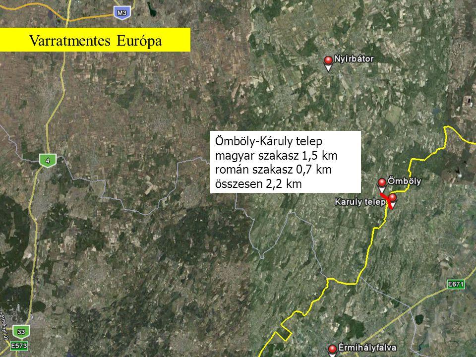 Ömböly-Káruly telep magyar szakasz 1,5 km román szakasz 0,7 km összesen 2,2 km Varratmentes Európa
