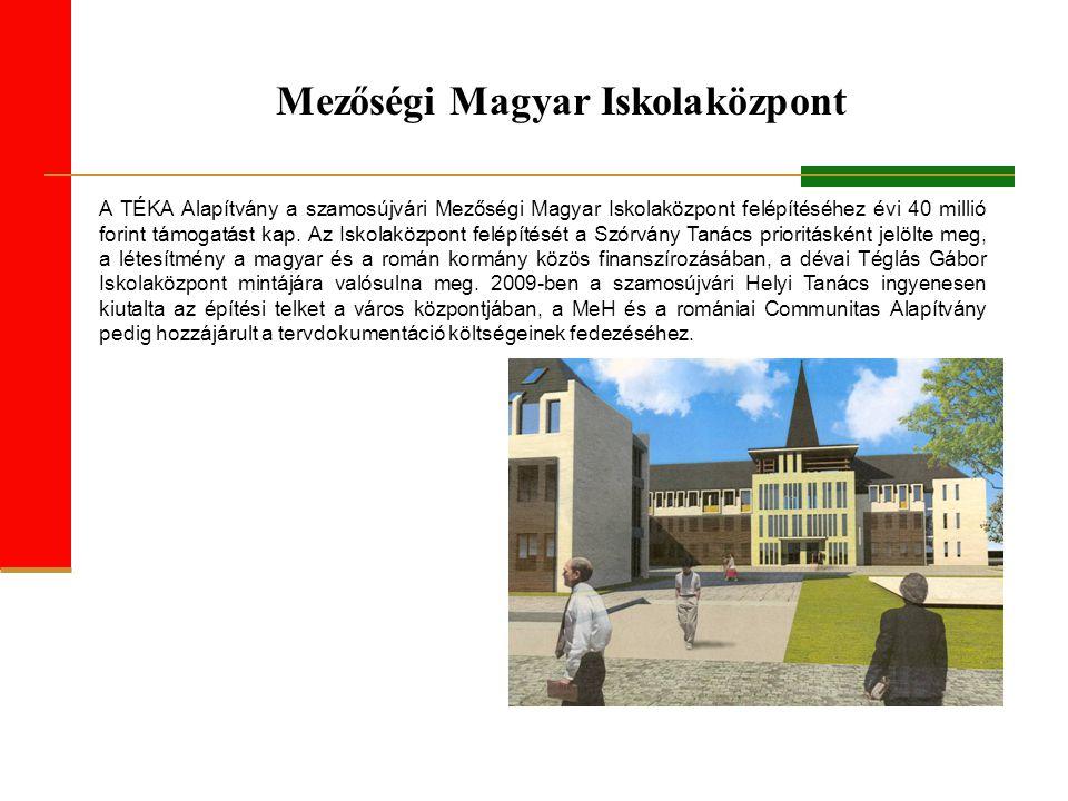 Mezőségi Magyar Iskolaközpont A TÉKA Alapítvány a szamosújvári Mezőségi Magyar Iskolaközpont felépítéséhez évi 40 millió forint támogatást kap.