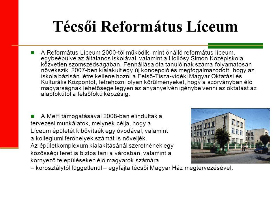 Técsői Református Líceum A Református Líceum 2000-től működik, mint önálló református líceum, egybeépülve az általános iskolával, valamint a Hollósy Simon Középiskola közvetlen szomszédságában.