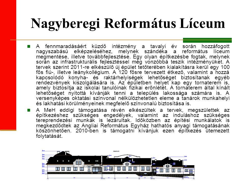 Nagyberegi Református Líceum A fennmaradásáért küzdő intézmény a tavalyi év során hozzáfogott nagyszabású elképzeléséhez, melynek szándéka a református líceum megmentése, illetve továbbfejlesztése.