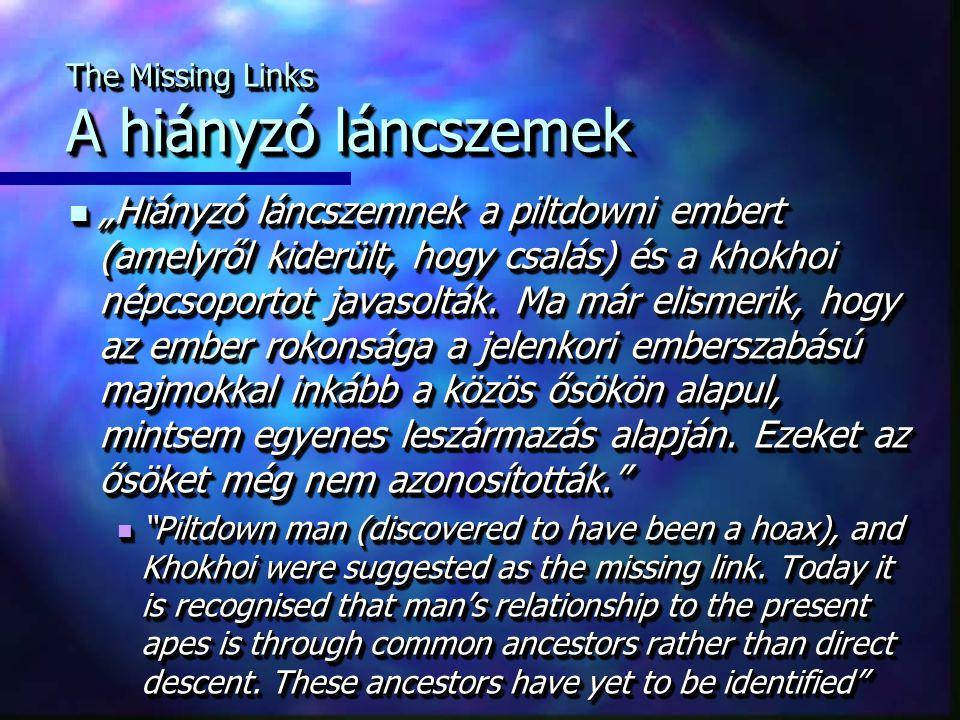 """The Missing Links A hiányzó láncszemek """"Hiányzó láncszemnek a piltdowni embert (amelyről kiderült, hogy csalás) és a khokhoi népcsoportot javasolták."""