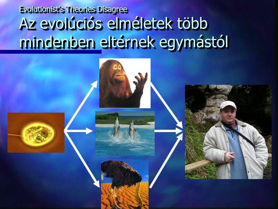 Evolutionist's Theories Disagree Az evolúciós elméletek több mindenben eltérnek egymástól