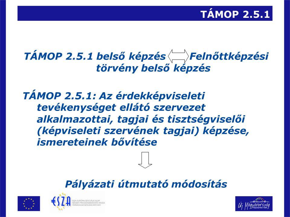 TÁMOP 2.5.1 TÁMOP 2.5.1 belső képzés Felnőttképzési törvény belső képzés TÁMOP 2.5.1: Az érdekképviseleti tevékenységet ellátó szervezet alkalmazottai, tagjai és tisztségviselői (képviseleti szervének tagjai) képzése, ismereteinek bővítése Pályázati útmutató módosítás