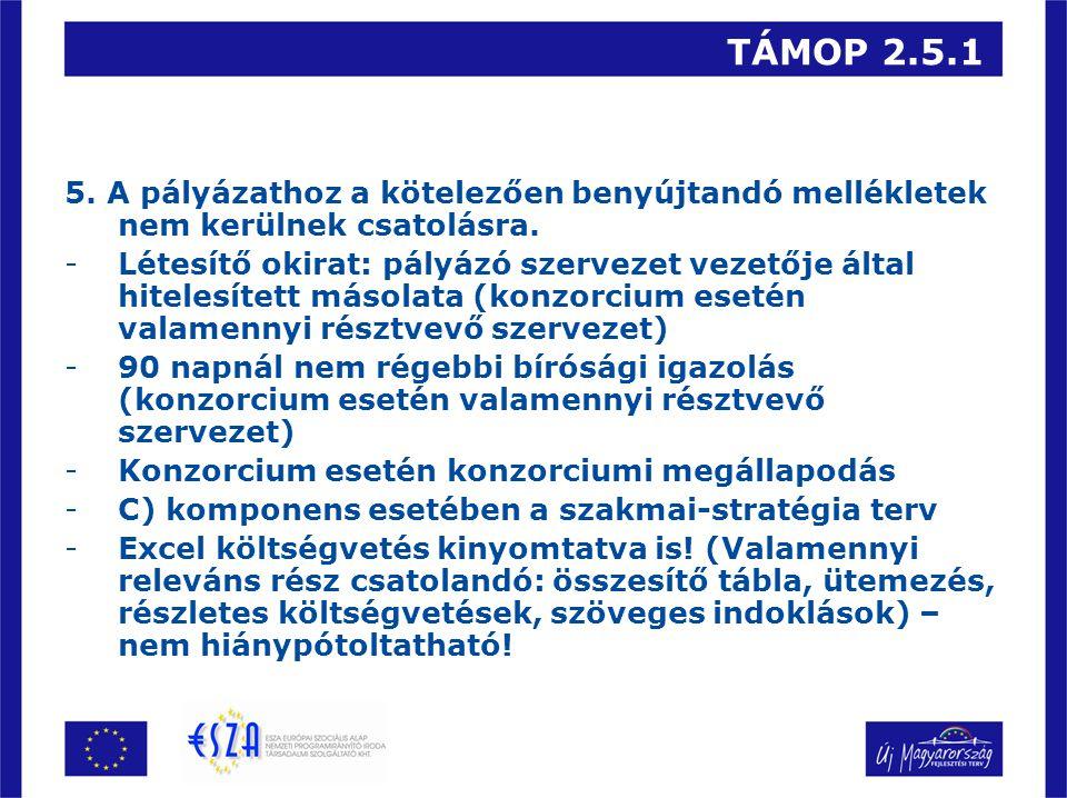 TÁMOP 2.5.1 5. A pályázathoz a kötelezően benyújtandó mellékletek nem kerülnek csatolásra.