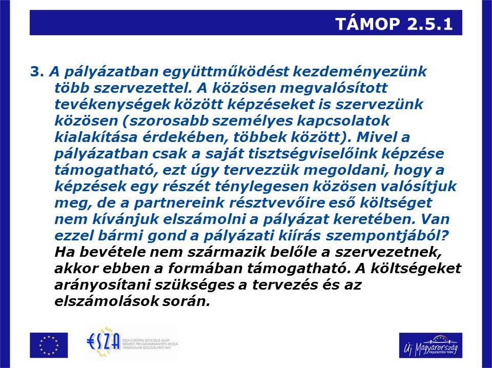 TÁMOP 2.5.1 3. A pályázatban együttműködést kezdeményezünk több szervezettel.