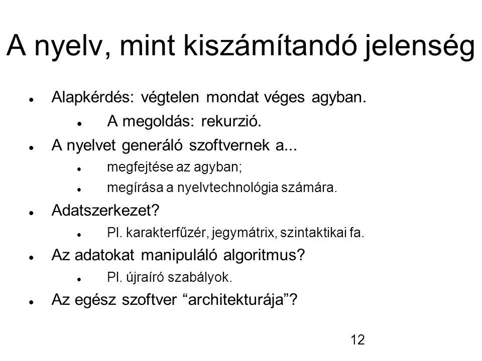 12 A nyelv, mint kiszámítandó jelenség Alapkérdés: végtelen mondat véges agyban. A megoldás: rekurzió. A nyelvet generáló szoftvernek a... megfejtése