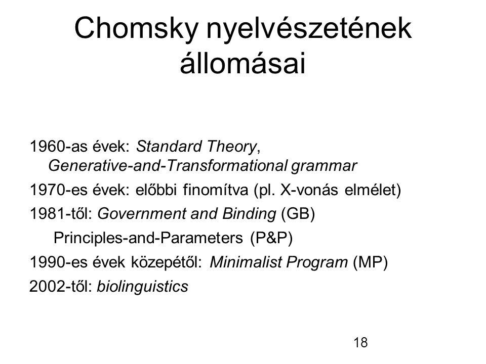 18 Chomsky nyelvészetének állomásai 1960-as évek: Standard Theory, Generative-and-Transformational grammar 1970-es évek: előbbi finomítva (pl. X-vonás