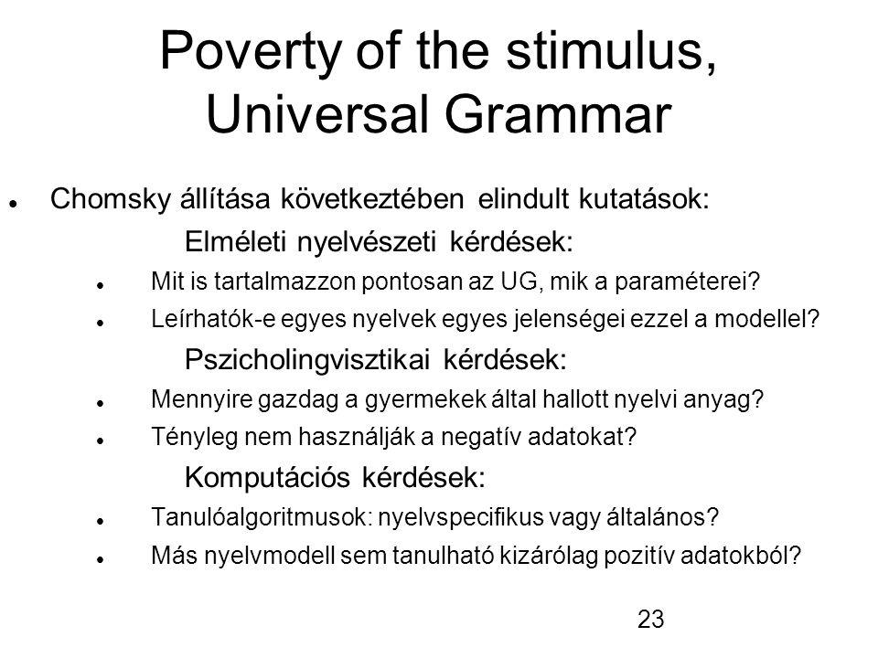 23 Poverty of the stimulus, Universal Grammar Chomsky állítása következtében elindult kutatások: Elméleti nyelvészeti kérdések: Mit is tartalmazzon po