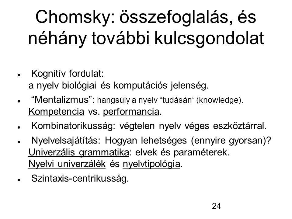 """24 Chomsky: összefoglalás, és néhány további kulcsgondolat Kognitív fordulat: a nyelv biológiai és komputációs jelenség. """"Mentalizmus"""": hangsúly a nye"""