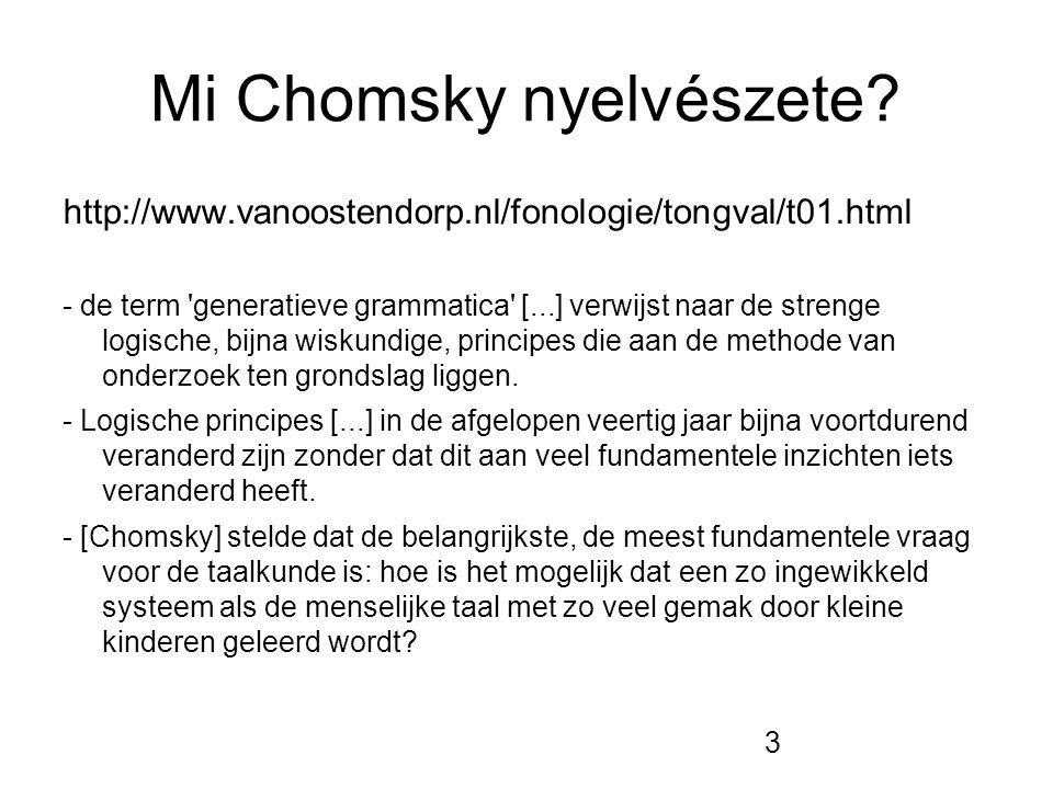 3 Mi Chomsky nyelvészete? http://www.vanoostendorp.nl/fonologie/tongval/t01.html - de term 'generatieve grammatica' [...] verwijst naar de strenge log